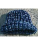 Hand knitted variegated  blue beanie/cap/hat - $10.00