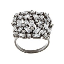 18K BLACK VERMEIL-Radiant Baguette 5A Cubic Zirconia Abstract Knuckle Ring-925SS - $89.99