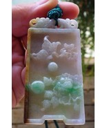 Certified Yellow Natural A Jade jadeite pendant Dragon Butterfly Orchid Flower - $152.99