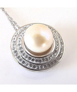 Elegant Sterling Silver Freshwater Pearl With 2 Rows Of CZ Necklace Pend... - $23.76