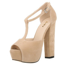 PS032 Elegant T-type ankle sandals, suede leahter,size 35-42, apricot - $68.00