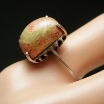 Unakite Sterling Ring Vintage Hand Cut  4.9 Grams Marked 935 Swiss silver Women' - $165.00