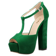 PS032 Elegant T-type ankle sandals, suede leahter,size 35-42, green - $68.00