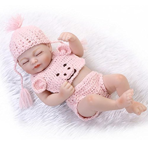 "10"" Real Life Sleeping Newborn Girl Doll Mini Reborn Baby Full Body Silicone for sale  USA"