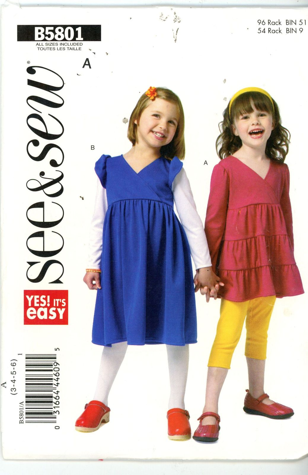 See & Sew by Butterick Girls Toddlers Top Dress Sewing Pattern B5801 Size 3 4 5