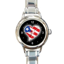 Ladies Round Italian Charm Bracelet Watch American Flag Patriotic Gift 2... - $11.99