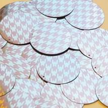 """Round Sequin 1.5"""" Pink Silver Houndstooth Pattern Metallic - $14.97"""