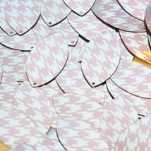 "Navette Leaf Sequin 1.5"" Pink Silver Houndstooth Pattern Metallic - $14.97"