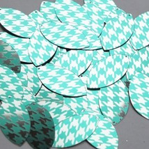 "Navette Leaf Sequin 1.5"" Teal Silver Houndstooth Pattern Metallic - $14.97"