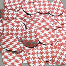 "Teardrop Sequin 1.5"" Red Silver Houndstooth Pattern Metallic - $14.97"