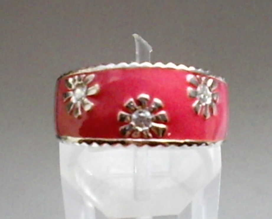 White Cubic Zirconia Accents in 925 Sterling Silver and Pink Enamel Ring