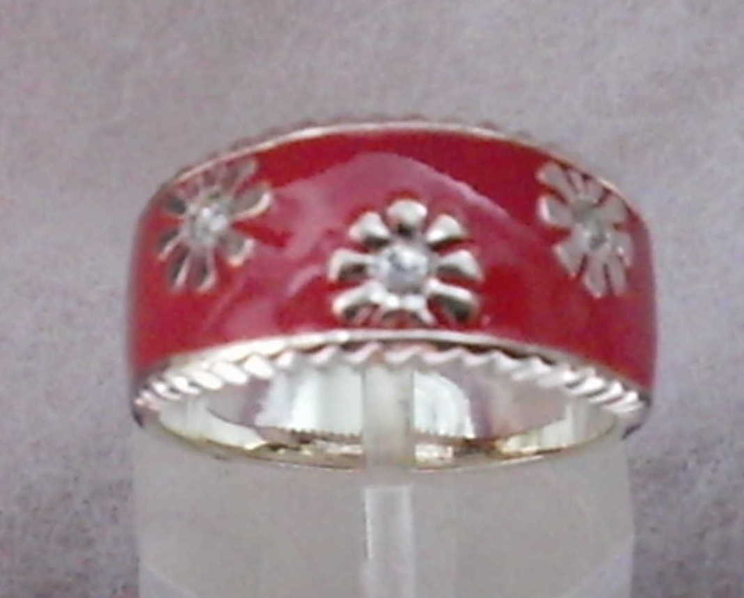 1of3  0.33ctw czs in 925 ss   pink enamel  5.4gtw  10mm wide  size 7  3