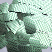 "Rectangle Sequin 1.5"" Green Silver Chevron Zig Zag Pattern Metallic - $14.97"