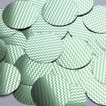 """Round Sequin 1.5"""" Green Silver Chevron Zig Zag Pattern Metallic - $14.97"""