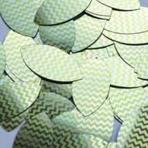 "Navette Leaf Sequin 1.5"" Yellow Silver Chevron Zig Zag Pattern Metallic - $14.97"
