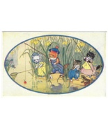 Dressed Cats Fishing Pond Any Luck Pussy? Molly Brett Postcard Medici So... - $6.69