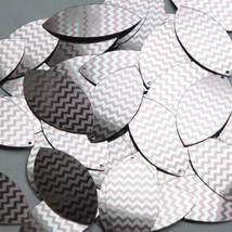 """Navette Leaf Sequin 1.5"""" Pink Silver Chevron Zig Zag Pattern Metallic - $14.97"""
