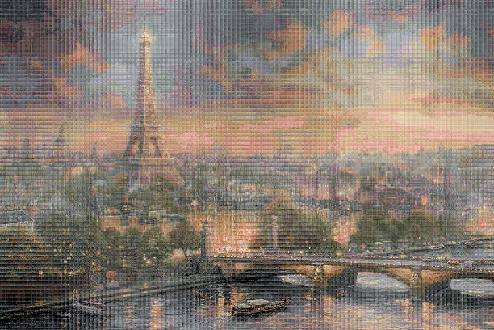counted cross stitch paris city of love kinkade x l623 other. Black Bedroom Furniture Sets. Home Design Ideas
