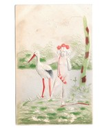 Birth Stork Cupid w Bow & Quiver Vintage UDB Embossed Airbrushed Postcard - $6.69