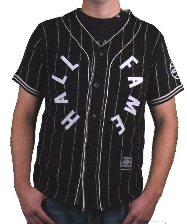 Hall Of Fame Black House Wool Blend Knit Button Up Baseball Jersey Shirt