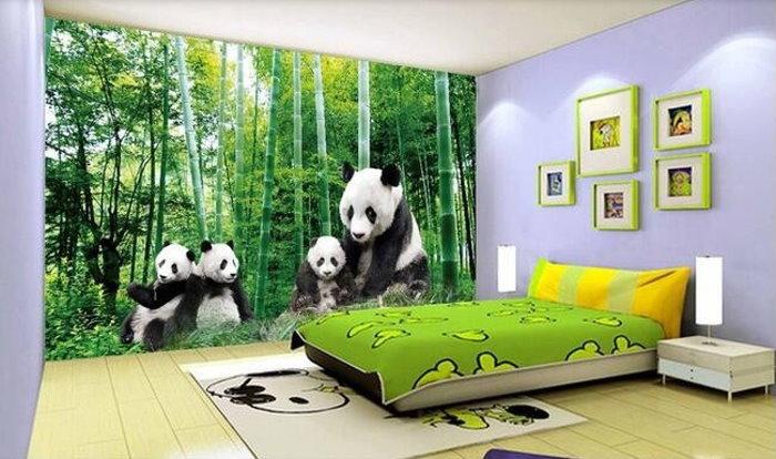 Adorable 3d panda wallpaper wall mural panda bears bamboo for 3d wallpaper for kids bedroom