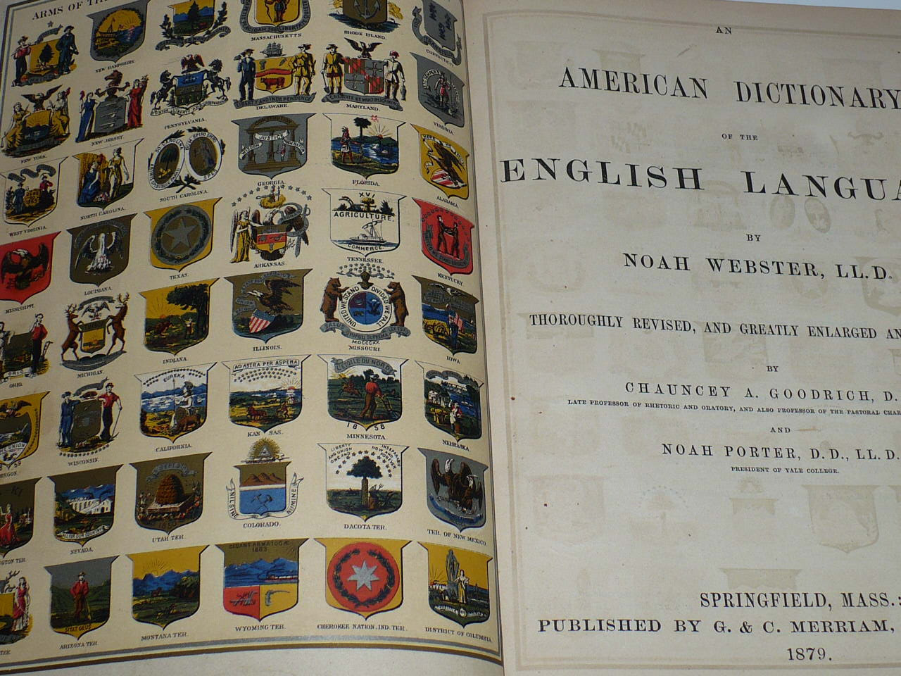 Books, Dictionary, Noah Webster,1875, American Dictionary, English Language,
