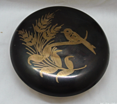 Vintage Etched Bird Design Round Brass Trinket Box Jewelry Box Made in I... - $14.00