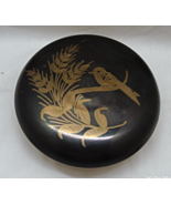 Vintage Etched Bird Design Round Brass Trinket Box Jewelry Box Made in I... - $14.00