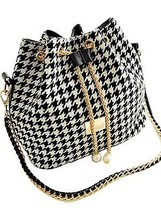 Stylish Women's Shoulder Bag With Houndstooth and Chains Design - $37.40