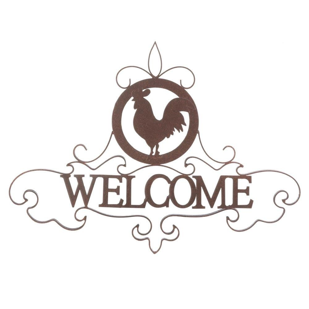 Rooster Silhouette Welcome Sign Chickens