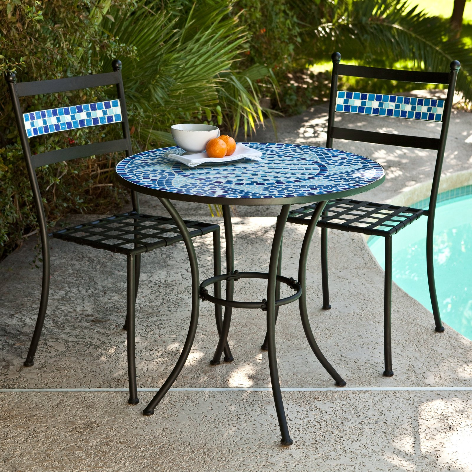Bistro set patio table chairs mosaic tile garden deck for Patio table set