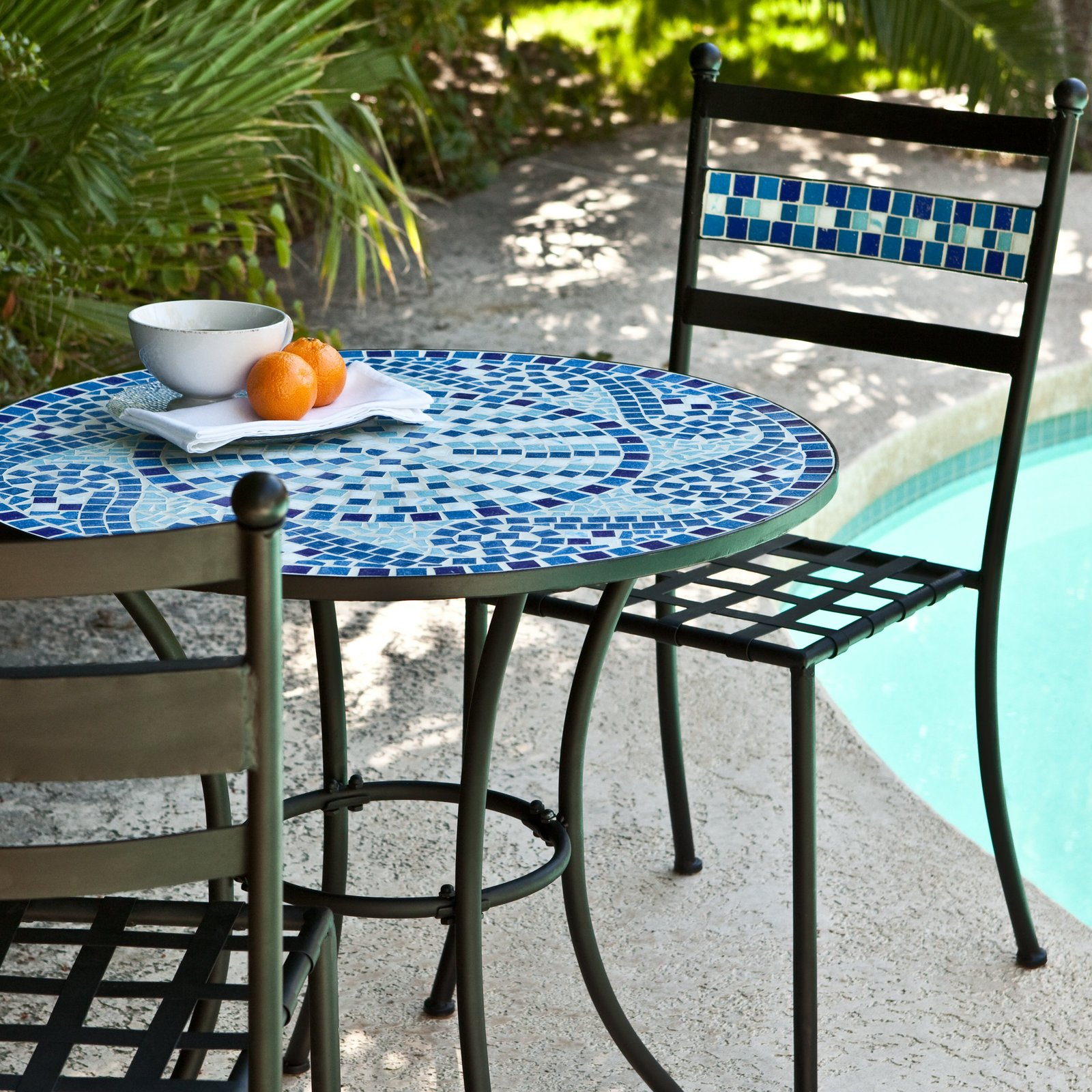Bistro Set Patio Table Chairs Mosaic Tile Garden Deck