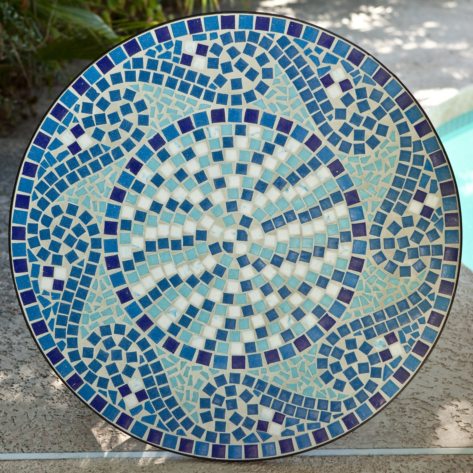 Bistro set patio table chairs mosaic tile garden deck marina pool outdoor ocean patio garden - Basics mosaic tiles patios ...