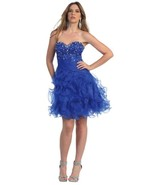 Sexy Strapless Beaded Bodice Ruffled Skirt Shor... - $84.99