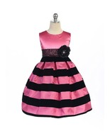 Dramatic Hot Pink Black Stripes Pageant Flower Girl Dress Crayon Kids USA - €40,66 EUR
