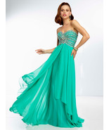 Sexy Strapless Mint or Blue Long Chiffon Evenin... - $319.99