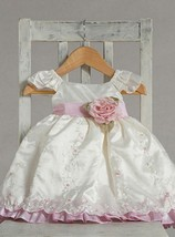Stunning Ivory Pink Ruffle Embroidered Flower Girl Party Dress, Crayon K... - $37.23+