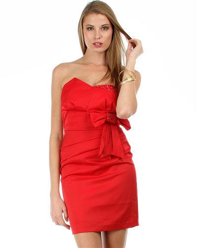 Sexy Red Satin Strapless Sheath Party Cruise Club Mini Jr Dress w/Bow