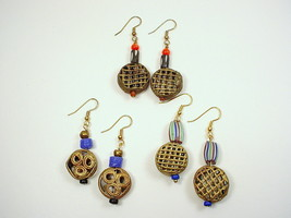 3 Styles of Earrings with African Trade Beads of Brass Openwork Disks  B... - $25.00