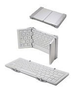 Besta Tri-Fold Foldable Por table Ul tra-Thin Bluetooth Keyboard Silver ... - $68.50