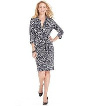 Charter Club Women Shirt Dress animal print belted PM gray $99 - $660,22 MXN
