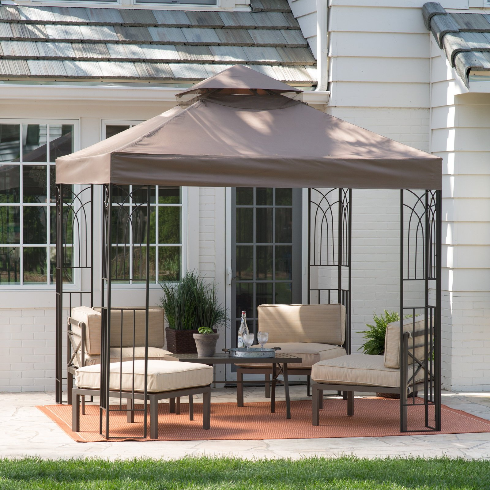 Gazebo canopy patio sun shade outdoor sun shade furniture for Porch canopy plans