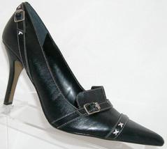 Nine West 'Shoediva' black leather buckle slip on pump heel 7.5M 4888 - €28,49 EUR