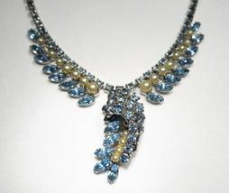 Estate Pale Blue Rhinestone Faux Pearl Necklace C1926 - $23.13