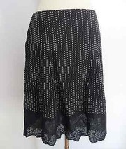 Ann Taylor Petites size 2P black white polka dotted embroidered a-line s... - $29.99