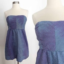 Urban Outfitters size 4 blue red gradient striped strapless knee length ... - £21.40 GBP
