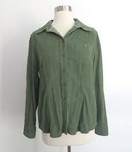 Eddie Bauer size MEDIUM olive green button down corduroy shirt blouse top - $21.50