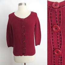 Ann Taylor LOFT MEDIUM PETITE MP red black dashes button down cardigan s... - $29.99