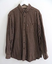 Woolrich men's size LARGE brown check plaid print button down shirt long... - $25.99