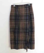 Jones New York Country size 10 blue brown beige plaid wool blend long skirt - $59.99